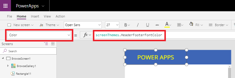 Apply common styles for all the screen components in
